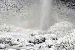 Base of Latourell Falls Frozen in Winter Closeup Royalty Free Stock Image