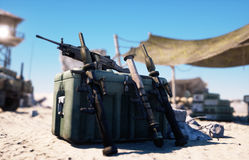 Base militar, jefaturas en desierto del este Concepto del terrorismo representación 3d stock de ilustración
