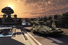 Base militare futuristica e carro armato antigravità Fotografia Stock Libera da Diritti