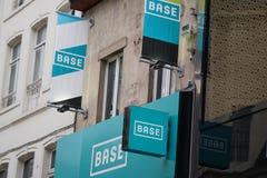Base mobile telecommunications operator logo. Brussels, Belgium - December 9, 2017: Base logo. BASE is the third largest of Belgium`s three mobile Stock Photography