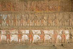 Moche Moon Pyramid Bas Relief, Peru royalty free stock images