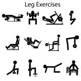 Base and most important exercises to pump your legs stock illustration