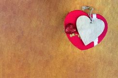 Base postcard valentines day holiday box and wooden heart on a wooden background and copy space style eco Royalty Free Stock Images