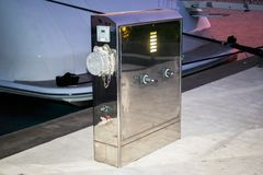 Base for power supply for yachts and boats Stock Photography