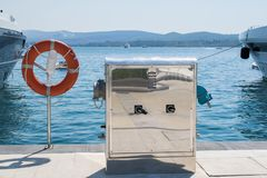 Base for power supply for yachts and boats Royalty Free Stock Image