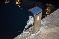 Base for power supply for yachts and boats Stock Photos