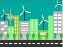Base RGBCity del horizonte futuro, una ciudad verde con los molinoes de viento y árboles ilustración del vector