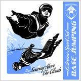 Base-salto - volo di Wingsuit Insieme di sport Immagini Stock Libere da Diritti