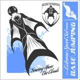 Base-salto - volo di Wingsuit Insieme di sport Immagine Stock Libera da Diritti