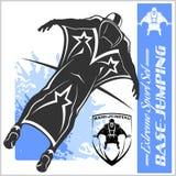 Base-salto - volo di Wingsuit Insieme di sport Immagini Stock
