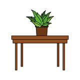 100 BASE. Simple wooden table with plant icon image vector illustration design Royalty Free Stock Photography
