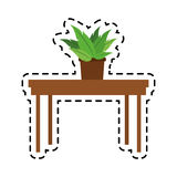 100 BASE. Simple wooden table with plant icon image vector illustration design Stock Images
