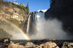 At the base of Snoqualmie Falls Stock Photo