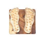 Base a stecche di legno per il massaggio del piede Immagine Stock