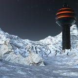 Base sulla luna con neve Fotografia Stock Libera da Diritti