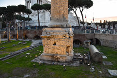 Base of the Trajan`s Column Stock Photo