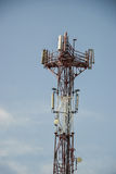 Base transceiver station (BTS) with antenna isolated on blue sky background. Telecommunications radio tower cells Royalty Free Stock Photos