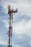 Base transceiver station (BTS) with antenna isolated on blue sky background. Telecommunications radio tower cells Royalty Free Stock Photo