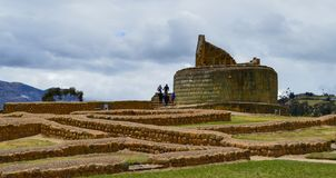 Ingapirca, archaeological complex, walls and pyramid. Base walls and pyramid of the archaeological complex of Ingapirca, at Cañar, Ecuador stock photography