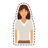 100 BASE. Young pretty woman with brown hair icon image sticker vector illustration design Royalty Free Stock Photography