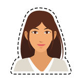 100 BASE. Young pretty woman with brown hair icon image sticker vector illustration design Stock Image