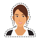 100 BASE. Young pretty woman with brown hair icon image sticker vector illustration design Royalty Free Stock Photos