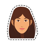 100 BASE. Young pretty woman with brown hair icon image sticker vector illustration design Stock Photography