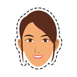 100 BASE. Young pretty woman with brown hair icon image sticker vector illustration design Stock Photos
