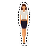 100 BASE. Young pretty woman with brown hair icon image sticker vector illustration design Stock Photo