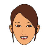 100 BASE. Young pretty woman with brown hair icon image vector illustration design Stock Photo