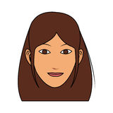 100 BASE. Young pretty woman with brown hair icon image vector illustration design Stock Photos