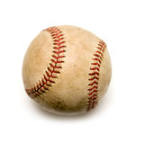 Baseball. Well used baseball on white background - the American past-time Stock Photo