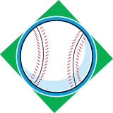 Baseball. Single baseball on a green diamond background Stock Photos