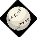Baseball. Single baseball on a black diamond background Royalty Free Stock Image