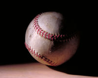 Baseball. Used baseball in streaked lighting style royalty free stock photo