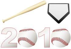 Baseball 2010 Season Set balls bat base. Announce the 2010 Baseball Season games with a set baseballs, a bat, and a base Royalty Free Stock Image
