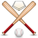Baseball. Illustration of baseball bats, baseball balls, and the baseman royalty free illustration
