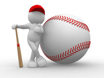 Baseball. 3d people - human character, person and baseball . 3d redner Royalty Free Stock Images