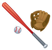 Baseball. Bat, glove and ball on a white background Stock Photos