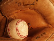 Baseball. Closeup of baseball and glove Royalty Free Stock Images