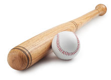 Baseball. And  bat on white background Stock Image