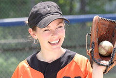 Baseball. Women smiling during baseball game Stock Images
