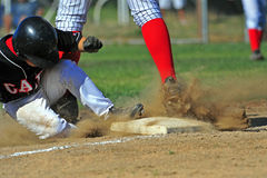 Baseball 2nd base slide. stock image