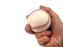 Baseball. Ball in hand-over white with clipping path Royalty Free Stock Images