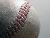 Baseball. Closeup of baseball stitching Stock Photos