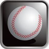 Baseball. A baseball on a black shiny round square. Additional format available Royalty Free Stock Images