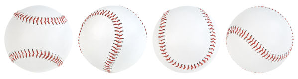 Four isolated baseballs Royalty Free Stock Images