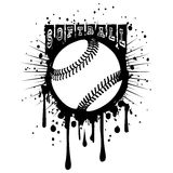 Baseball. Abstract vector illustration black and white baseball ball on grunge background. Inscription softball. Design for tattoo or print t-shirt royalty free illustration