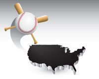 Baseball across black USA Royalty Free Stock Images