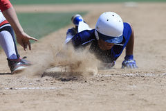 Baseball Action Image - Head first slide into base Royalty Free Stock Photography